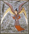 Angel Blowing a Woodwind, ink and opaque watercolor painting from Iran, c. 1500, Honolulu Academy of Arts
