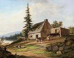 A Pioneer Homestead, oil painting by Cornelius Krieghoff, 1854, 12.4 x 16 in.