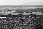 CCC camp barracks at Gap Ranch near Riley, Oregon.  $ long buildings are sleeping quarters for 50 men each.  circa 1940  Photo Joe Urbanek