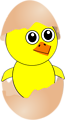 Funny Chick Cartoon Newborn Coming Out from the Egg with a Eggshell hat