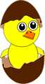 Funny Chick Cartoon Newborn Coming Out from the Egg with a Chocolate Eggshell hat
