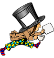 mad hatter with clean label on hat holding paper