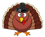 Thanksgiving Turkey with Black Hat