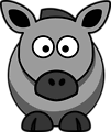 Cartoon Horse Grey