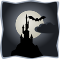 Spooky castle in full moon