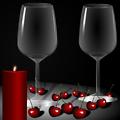 candles, glasses, cups, cherry, taurės, žvakės, vyšnios