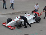 A 2008 Firestone Indy Lights car during pre-season testing at the Homestead-Miami Speedway.
