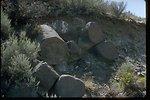 Columnar basalt near Wahatis Peak in Saddle Mountains, Washington