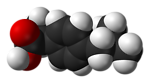Space-filling model of the (S)-ibuprofen molecule, based on neutron diffraction data from N. Shankland, C. C. Wilson, A. J. Florence and P. J. Cox (1997). 'Refinement of Ibuprofen at 100K by Single-Crystal Pulsed Neutron Diffraction'. Acta Crystallograp