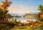 The Narrows, Lake St. Charles, oil painting by Cornelius Krieghoff, 1863, 9 x 13 in.