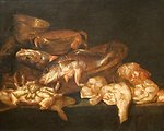 Still-life with Fish, oil on wood panel painting by Abraham van Beyeren, c. 1650-60, Dayton Art Institute