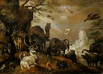Landscape with Beasts, oil painting by Roelant Savery, 1620, Dayton Art Institute