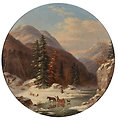 In the Mountains below Quebec, North Shore, French Canadians in Early Winter, oil painting by Cornelius Krieghoff, 17.5 in.