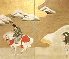 Crossing to Sano, Japanese two-panel screen, 18th century, ink, color and gold leaf on paper, Honolulu Academy of Arts