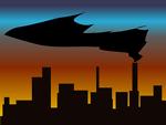 skyline with black smoke