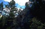 Looking up a rocky cliff in the Centennial Mountains