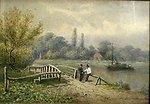 Couple de Paysans Accoudes Sur un Pont, 1869, 6.3 x 8.3 in. watercolor on panel by Cornelius Krieghoff