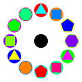 4 polygons in circles rainbow