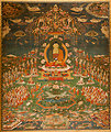 Amitabha in Sukhavati Paradise, Tibetan, circa 1700, Ink, pigments, and gold on cotton, San Antonio Museum of Art