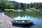 Boat on the beach at Log Gulch Campground