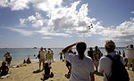 Thunderbirds fly above island paradise