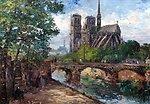 Deutsch:  Notre Dame de Paris, signiert, Öl auf Karton, 38 x 55 cm