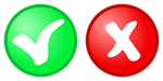 red   green OK, not OK Icons