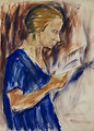 Portrait Helene Rohlfs. Tempera. 77 x 57 cm.