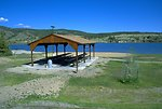 Covered picnic area by Hauser Lake