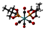 Ball-and-stick model of the caged phosphite complex bis(trimethylolpropane phosphite)molybdenum tetracarbonyl, [(EtCage)2Mo(CO)4], as found in the crystal structure. Colour code:  Carbon, C: black Hydrogen, H: white Phosphorus, P: orange Oxygen, O: red Mo
