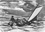 An illustration from Jules Verne's novel 'Journeys and Adventures of Captain Hatteras', part II: 'The Field of Ice' drawn by Édouard Riou and/or Henri de Montaut. Polski:  Ilustracja powieści Juliusza Verne'a 'Podróże i przygody kapitana Hatter