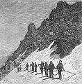 An illustration from Jules Verne's short story 'Fortieth Ascent of Mont Blanc' (fr. 'Quarantième ascension française au mont Blanc', 1871) drawn by Edmond Yon. Polski:  Ilustracja opowiadania Juliusza Verne'a 'Quarantième ascension française au