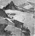 An illustration from Jules Verne's short story 'Quarantième ascension française au mont Blanc' (1871) drawn by Edmond Yon. Polski:  Ilustracja opowiadania Juliusza Verne'a 'Quarantième ascension française au mont Blanc' (Czterdzieste francuskie