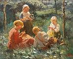 Spielende Kinder im Grünen. Öl auf Leinwand. Unten rechts signiert E. Pieters. 88 x 110 cm