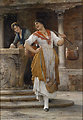 Die Wasserträgerin, signiert, datiert Eugene De Blaas 188(7), Öl auf Holz auf Holz, 67,3 x 47,6 cm