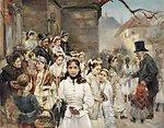 Deutsch:  Erstkommunionkinder auf dem Dorfplatz. (wohl Böhmisch 2. Hälfte 19. Jhdt.) Öl auf Leinwand, ca. 54 x 70 cm