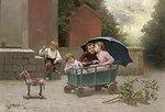 Das kleine Zugpferd, signiert, datiert D Entraygues 1888, Öl auf Leinwand, 38 x 55 cm