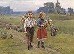 Kinder am Heimweg, signiert, datiert Cesar Pattein 1895, Öl auf Leinwand, 58 x 79 cm