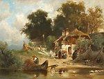 Deutsch:  Fischerhäuser an einem Seeufer. Signiert und datiert unten rechts: Kappis 1890. Öl auf Holz. 19 x 26 cm.