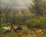 Deutsch:  Enten am Bach. Öl auf Holz, 12.7 x 16.3 cm