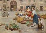 Deutsch:  Blumenmarkt, signiert C. Vianello, Italien um 1900, Öl auf Leinwand, 63 x 83 cm