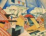 Deutsch:  Biarritz, links unten signiert, datiert und gekennzeichnet: Feuerstein 1921 Biarritz, kombinierte Technik/Papier, 39 x 49 cm