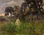 Deutsch:  Landschaft mit junger Frau. Signiert unten links: A. Nobillet. Öl auf Holz. 32 x 40 cm