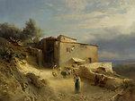 Italienisches Küstendorf. Öl auf Leinwand. Unten rechts signiert: A. Calame f. 61 x 82 cm.