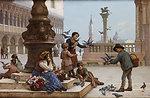 Antonio Ermolao Paoletti Tauben fütternde Kinder in Venedig.jpg