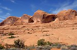 Slickrock showing cat eyes on trail to Corona and Bowtie arches near Moab, Utah.
