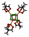 Ball-and-stick model of the caged phosphite complex [CuCl(MeCage)]4 as found in the crystal structure. Colour code:  Carbon, C: black Hydrogen, H: white Phosphorus, P: orange Oxygen, O: red Copper, Cu: orange-pink Chlorine, Cl: green  Crystal structure by