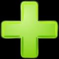 Green plus with black border