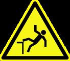 Deutsch:  Warnung vor Absturzgefahr, Warnzeichen D-W015 nach DIN 4844-2 Risk of falling, warning sign D-W015 according to German standard DIN 4844-2 Français:  Risque de chute de hauteur, signe d'avertissement D-W015 selon la norme allemande DIN 4844-