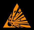 Deutsch:  Warnung vor explosionsgefährlichen Stoffen, Warnzeichen D-W002 nach DIN 4844-2 Explosive substances, warning sign D-W002 according to German standard DIN 4844-2